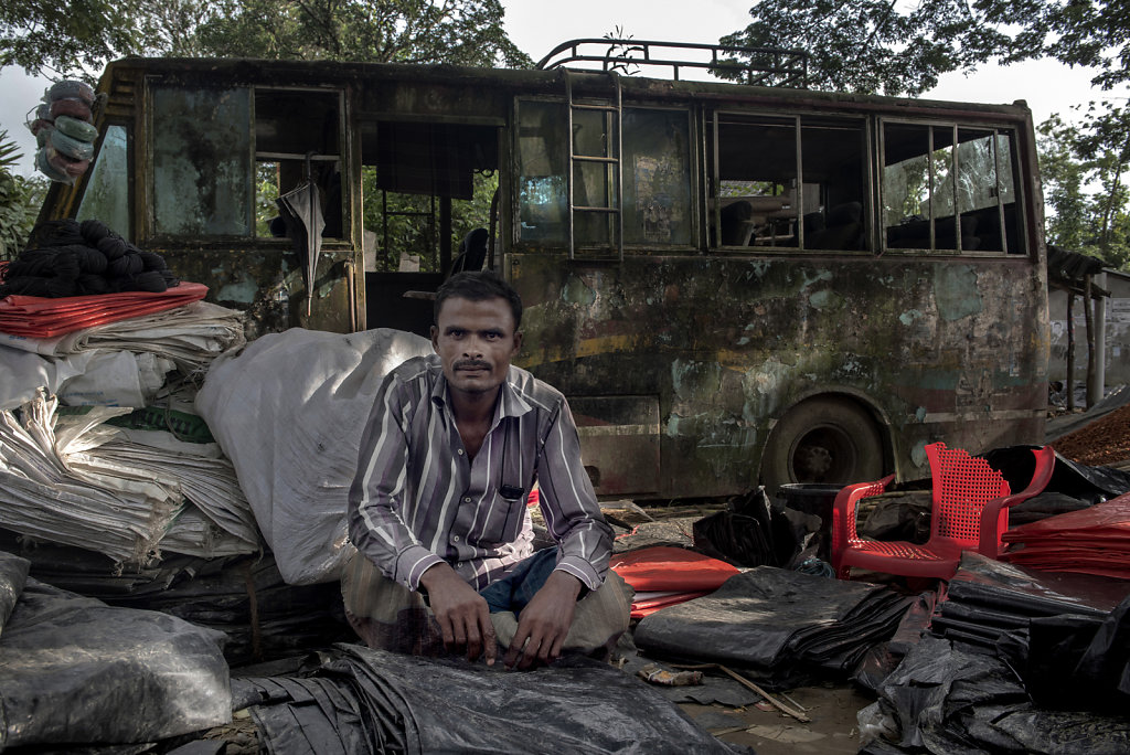 Nur Muhammad has found a lucrative business in selling tarpaulins.   All refugees build their huts of bamboo and tarpaulin.